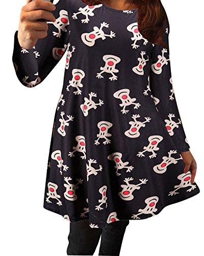 Robes FTe Manches Swing De Dress De Sapin Longues Femmes Noir1 Mesdames Print L No pqW7vSW