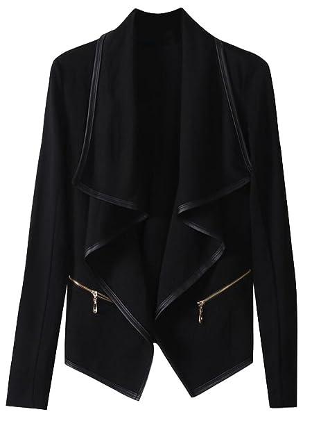 47378e2279 ARTFFEL-Women Plus Size Zip-Up Faux-Leather Moto Cardigan PU Jacket at Amazon  Women s Coats Shop