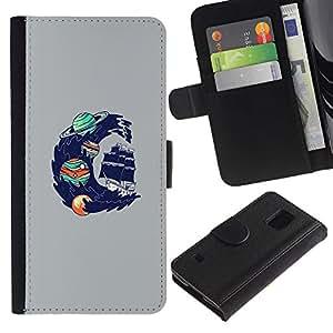 Leather Etui en cuir || Samsung Galaxy S5 V SM-G900 || Psychedelic Espacio Oceánica Wave @XPTECH