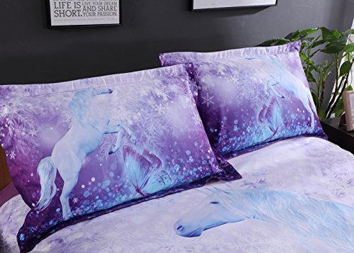 Alicemall 3D Unicorn Bedding Elegant White Unicorn Butterfly Flying Snowflake Print Duvet Cover Set, Soft and Breathable 4 Pieces Purple Bedding Set, Twin Size Kids' Bed Set (Twin, Purple Unicorn) by Alicemall (Image #3)
