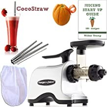 Omega TWN30S Twin Gear Juicer + Accessory Pack4! + Nut Milk Pulp Straining Bag, Stainless Steel Drinking Straws + Recipe eBook & Citrus Peeler