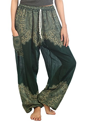 Lofbaz Women's Peacock 2 Drawstring Harem Boho Pants Dark Green 2XL (Beach Thailand Patio)