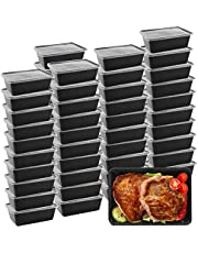 Meal Prep Containers, 50 Pack Microwavable Food Storage Containers Plastic Disposable Insulated Reusable Bento Boxes with Lids for Dishwasher/Freezer Safe BPA FREE (750 ML/ 26 OZ)