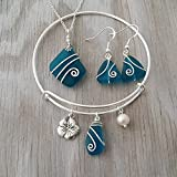 Handmade in Hawaii, Wire wrapped teal blue sea glass necklace + earrings + bracelet jewelry set, Hawaiian state flower Hibiscus charm, Hawaiian Gift, FREE gift wrap, FREE gift message, FREE shipping