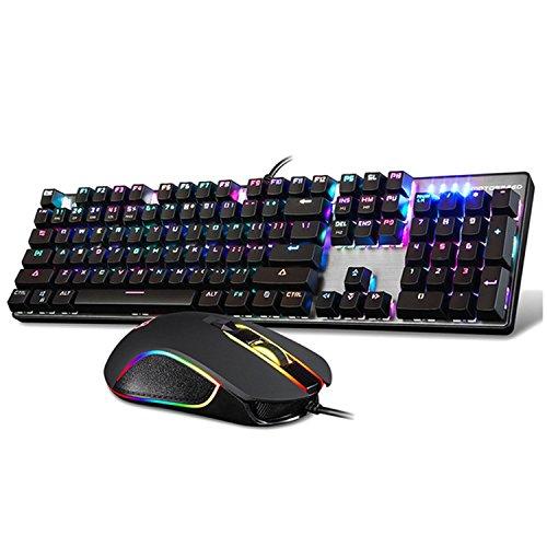USB Wired Backlight Keyclick Mechanical Gaming Keyboard RGB Blue Switch Backlit Keypad Key Board with 2400DPI Mouse Set for PC Desktop Laptop ()