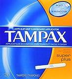Tampax Cardboard Applicator Tampons, Super Plus Absorbency, 20 Count (Pack of 4)