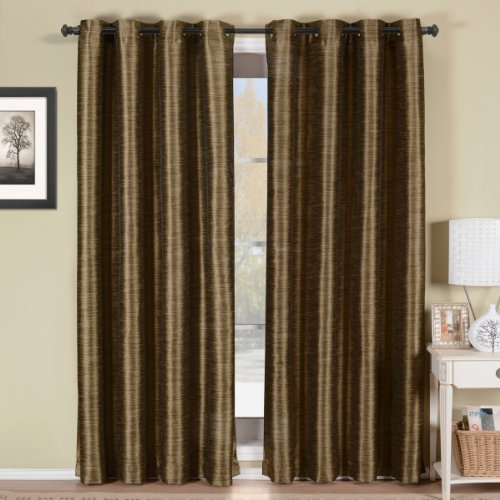 Luxury Geneva Multi-layer Coffee-Brown Grommet Blackout Window Curtain Drape, Lined-Stripe Pattern, 52x108 inches, by Royal Hotel