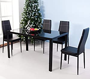 com merax 5 piece dining set glass top metal table 4 person table