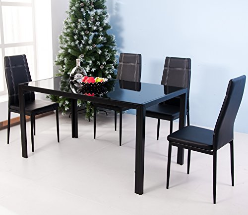 Discount Merax 5PC Glass Top Dining Set 4 Person Dining