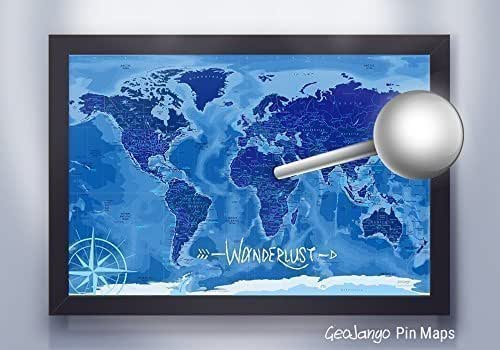 Push Pin Travel Map in Blue with Ocean Terrain - Large Framed Map