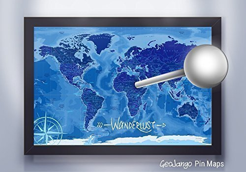 Push Pin Travel Map in Blue with Ocean Terrain - Large Framed Map by GeoJango