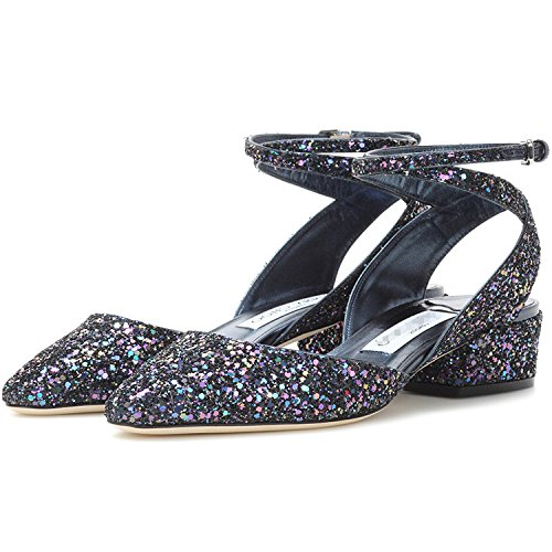 les des taille paillettes HASP sauvages fait femmes été mode extérieur avec petite sandales des chaussures doux 2017 printemps commerce Toe de Bleu brut et ont wzXwv