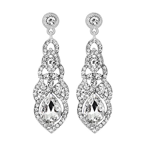 Drop Earrings Flower Crystal (Silver/Gold Crystal Unique Design Flower Teardrop Dangle Earrings for Women Fashion Strand Jewelry (Silver))