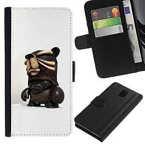 For Samsung Galaxy Note 3 III Case , 3D Figurine Chocolate Dark Man - la tarjeta de Crédito Slots PU Funda de cuero Monedero caso cubierta de piel