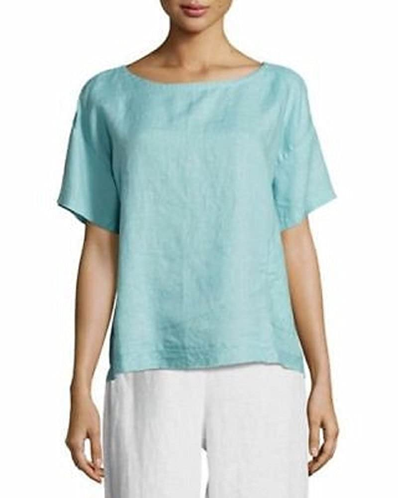 Eileen Fisher Scarab Organic Handkerchief Linen Round Neck Top Size XL MSRP $178