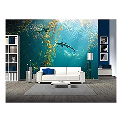 Small Shark in The Ocean with Amazing Light Ray - Removable Wall Mural | Self-Adhesive Large Wallpaper - 66x96 inches