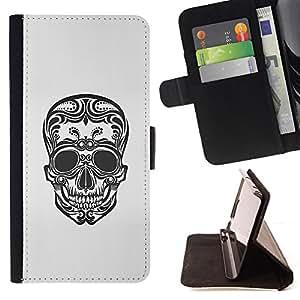 BullDog Case - FOR/HTC One M8 / - / FLORAL ART SKULL DEATH BIKER TATTOO INK /- Monedero de cuero de la PU Llevar cubierta de la caja con el ID Credit Card Slots Flip funda de cuer