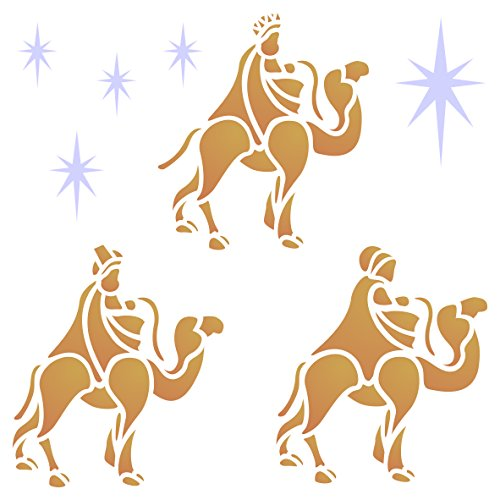 (Wise Men Stencil - 6.5 x 6.5 inch (M) - Reusable Christmas Nativity Wall Stencils for Painting - Use on Paper Projects Walls Floors Fabric Furniture Glass Wood etc.)