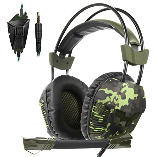 Yanni Sades SA921Plus Over Ear Stereo Gaming Headset Headband Headphones with Microphone for PC/Mac/ PS4/ Phones/Tablets Gamers(Camouflage Green) ()