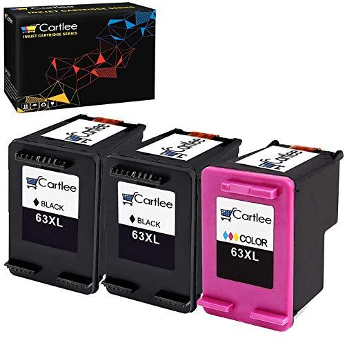 Cartlee 3 Remanufactured 63XL 63 XL High Yield Ink Cartridges for Envy 4512 4520 DeskJet 3632 2130 1110 1111 1112 2132 3630 3634 3636 3637 OfficeJet 3830 3833 4650 4655 4652 Printer (Black and Color)