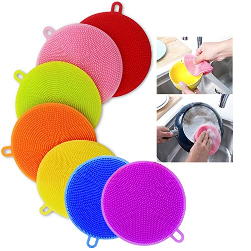 Silicone Dish Washing BrushFood Grade Scrubber BPA FreeMultipurposeKitchen Cleaning Sponges For Pot, Pan, Fruit and Vegetables(7 Pack),Lideemo