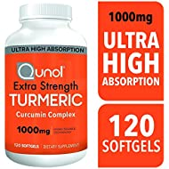 Turmeric Curcumin Softgels, Qunol with Ultra High Absorption 1000mg, Joint Support, Dietary Supplement, Extra Strength, 120 Softgels