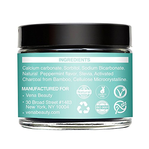 Natural Teeth Whitening Powder - Made with Organic Bamboo Activated Charcoal and Food Grade Formula - for Sensitive Teeth and Healthy Whitener, Peppermint, 50ml