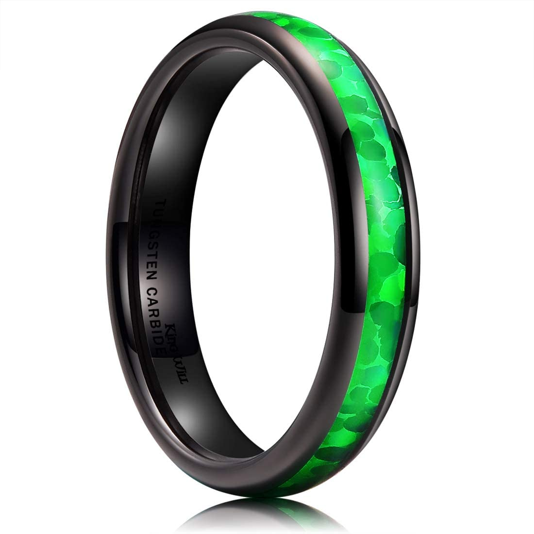 King Will Nature Mens 4mm/6mm/8mm Black Tungsten Carbide Ring Arc Polished Inlaid with Green Opal Sticker Wedding Band