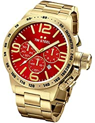 TW Steel CB113 Mens Canteen Red Dial Yellow Gold Plated Steel Bracelet Chronograph Watch