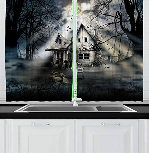 Ambesonne Halloween Kitchen Curtains, Haunted House with Dark Horror Atmosphere Cloudy Mysterious Frightening, Window Drapes 2 Panel Set for Kitchen Cafe, 55 W X 39 L Inches, Grey White Black -