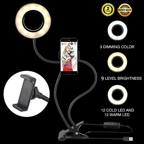 Ring Light Selfie Ring Light for iPhone All Smart Phone, 360 Rotating 3-Light Mode Brightness Flexible Arms Gooseneck Mount iPhone Tripod with LED for iPhone 7 plus (Light Chat)