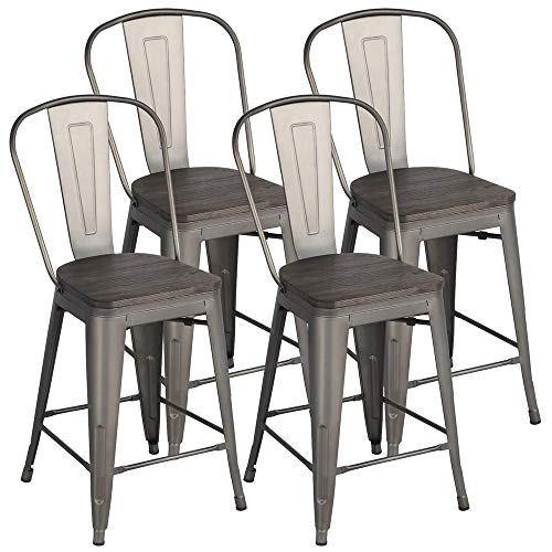 Yaheetech Metal Dining Chairs Stackable Industrial Dining Room Kitchen Chair with Wood Top/Seat and High Back Indoor/Outdoor Bistro Cafe Side Chairs Set of 4 Gun, Gunmetal