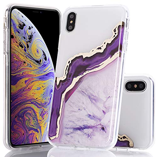 (BAISRKE Shiny Gold Purple Marble Agate Crystal White Back Shock Absorption Soft Clear TPU Edge Bumper and Rigid Hard Plastic Back Cover for iPhone Xs Max 6.5 inch)
