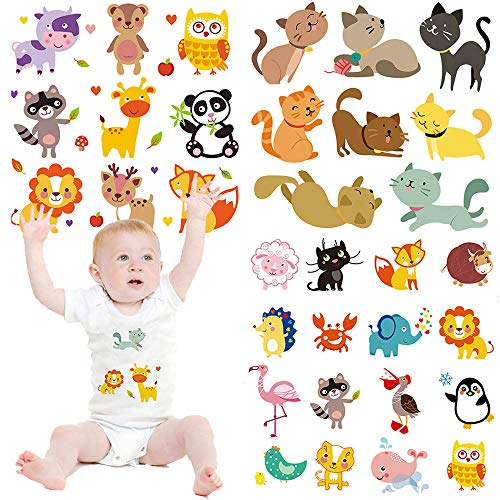 (Baby Cute Cartoon Animal Iron on Patches 3 Sets Birthday Lovely Transfers Decorations DIY Iron on Stickers for Kid's Clothing Girls T-Shirt Bag Cap Garment Accessories Assorted Patterns Eco-Friendly)