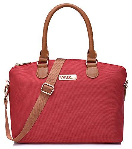 Design Satchel Handbag - NNEE Water Resistance Nylon Top Handle Satchel Handbag with Multiple Pocket Design - Red