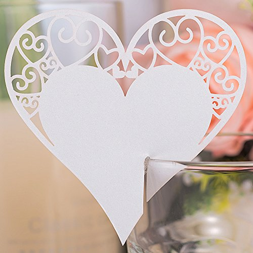 Premium 50pcs Wedding Place Table Name Cards 3D Laser Cut Love Heart Seating Card Party Wine Glass Cup Decoration for Bridal Baby Shower Engagement Birthday Tea Party Graduation Favor (White (Wine Glass Card)