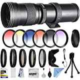 Opteka 420-800mm f/8.3 HD Telephoto Zoom Lens Bundle Package includes 5 Piece UV-CPL-FL-Macro 10x-ND4 Filters + Tulip Hood + Cap Keeper + Lens Pen + Cleaning Kit for Canon EOS M / M2 DSLR SLR Digital Camera