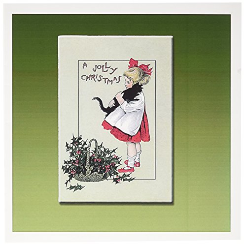 Holly Jolly Christmas Card - 3dRose A Jolly Christmas Little Girl Holding a Cat with a Basket of Holly Leaves and Berries - Greeting Cards, 6 x 6 inches, set of 6 (gc_153421_1)