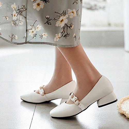 Latasa Womens Beaded Square-Toe Low Heel Pumps White qqFSQ