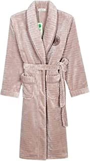 HONGLIAN Couple Pajamas Flannel Dressing Gown Autumn and Winter Solid Color Thickening Long Paragraph Warm Pajamas HONGLIAN (Color : Ms, Size : XXL)