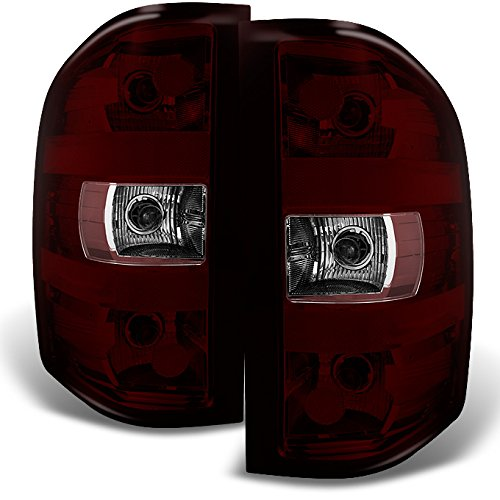 For Chevy Silverado Pickup Truck Rear Dark Red Tail Lights Brake Lamps Replacement Pair Left + Right