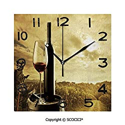 SCOCICI Print Square Wall Clock, 8 Inch Red Wine Bottle and Glass On Wooden Barrel Dramatic Sky Agriculture Decorative Quiet Desk Clock for Home,Office,School