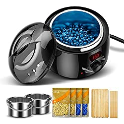 AEVO Waxing Kit, Electric Wax Warmer for Home Hair Removal [LED Display] [2 Wax Containers] [4 Bags of Painless Hard Wax Beads] [20 Wax Applicators] [Body, Bikini, and Face] for Women & Men