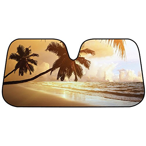 BDK Golden Palm Tree Beach Sunset Auto Windshield Sun Shade for Car SUV Truck - Bubble Foil Folding - Shades Tree