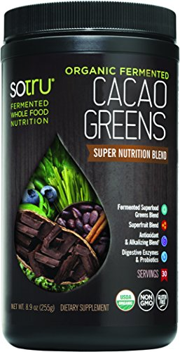 SoTru Cacao Greens - 240 Grams, Chocolate Flavor - Fermented Superfood Blend with Digestive Enzymes, Prebiotic Fiber & Antioxidants - USDA Certified Organic, Non-GMO, Vegan, Gluten-Free - 30 Servings