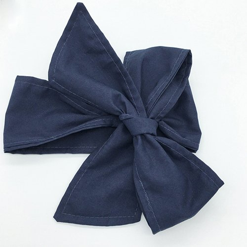 Baby Kids Girls Turban Big Bowknot Hair Band Vintage Cloth Headband Headwear - Dark Blue (Dark Blue)