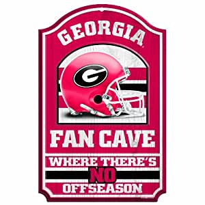 "NCAA Georgia Bulldogs 11-by-17 Wood Sign ""Helmet/Fan Cave"""