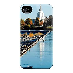 Case Cover Beautiful Temple By The River/ Fashionable Case For Iphone 4/4s