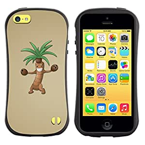 LASTONE PHONE CASE / Suave Silicona Caso Carcasa de Caucho Funda para Apple Iphone 5C / Palm Tree Cartoon Character Animation Drawing