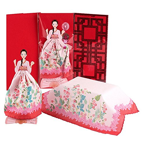Doll Handkerchief Greeting Card (Pink Red Floral, Korean Geisha) - Birthday, Baby, Wedding, Sympathy, Thinking of You, Thank You, Congratulations, X-mas, New Year, Business Gift